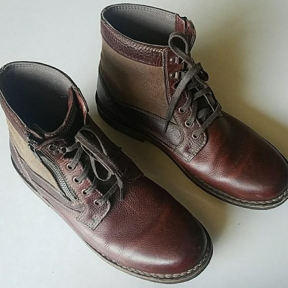Clarks Mens Combat Boots Leather Canvas